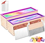 Farielyn-X 2pcs Silicone Soap Molds kit - 42 oz Flexible Rectangular Loaf Soap Mold kit Comes with Wood Box,Stainless Steel Wavy & Straight Scraper for CP and MP Soaps Making Supplies (120 PVC Bags)
