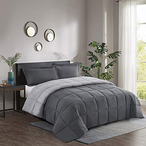 2pc Down Alternative Comforter Set -All Season Reversible Comforter with One Sham -Quilted Duvet Insert with Corner Tabs -Box Stitched –Hypoallergenic, Soft, Fluffy(Twin/Twin XL,Dark Gray/Light Gray)
