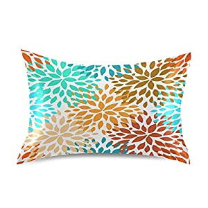 Blueangle Summer Flower Pattern Satin Pillowcase for Hair and Skin Silk Pillowcase, Standard Size(20×26 inches) – Slip Cooling Satin Pillow Covers with Envelope Closure