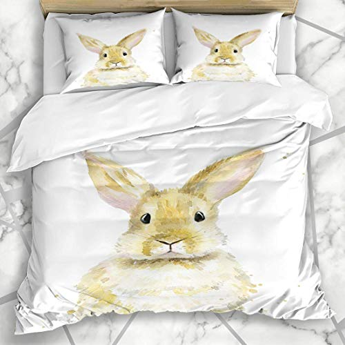 666 UNKEY Duvet Cover Sets Brown Rabbit Bunny Watercolor On White Abstract Wildlife Easter Hare Nature Pet Wild Design Microfiber Bedding with 2 Pillow Shams
