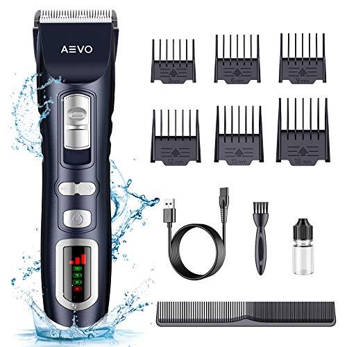 AEVO Kabelloser Haarschneider [Wiederaufladbares Professionelles Haartrimmer Set Haarschneider Herren] [Sichere & Einfache Haarschneidemaschine] [Anpassbare Länge & 6 Abstandskämme]