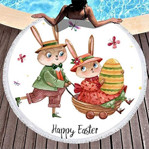 Gamoii Toalla de playa redonda con conejos de Pascua, para picnic, playa, de secado rápido, con borlas, para niños, mujeres, fitness y deporte, color blanco, 150 cm