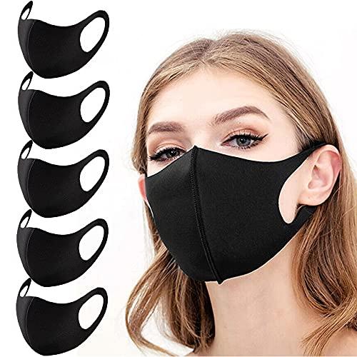 Face Mask, Washable Reusable Cloth Face Masks for Unisex Adults M1 (Black, 5Pcs)