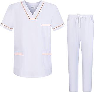 Workwear Tucano - Conjuntos Uniformes Sanitarios Blanco Unisex - Uniformes MÉDICOS Casaca Y PANTALÓN Sanitarios Ref.6601-6602