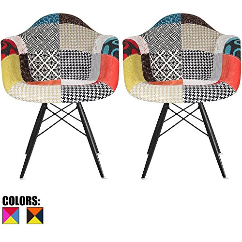 2xhome Set of 2 Multi Color Modern Upholstered Molded Armchair Fabric Chair Patchwork Multi-Pattern Dark Black Wood Wooden Leg Eiffel Dining Room Industrial Desk Accent Living Bedroom Kitchen
