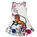 Minilady Unicornio niña niña verano vestido con diseño de unicornio caballo París Pegasus playa 21 Caballo mariposa. 146 cm