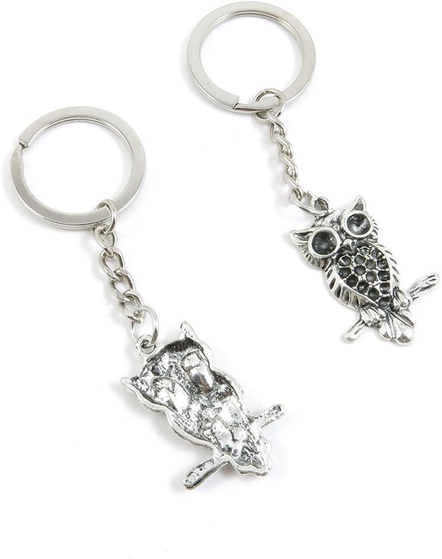Keyrings Keychains Door Car Keys Rings Tags Chain Antique Silver Tone Bulk Lots R1UZ4W Owl