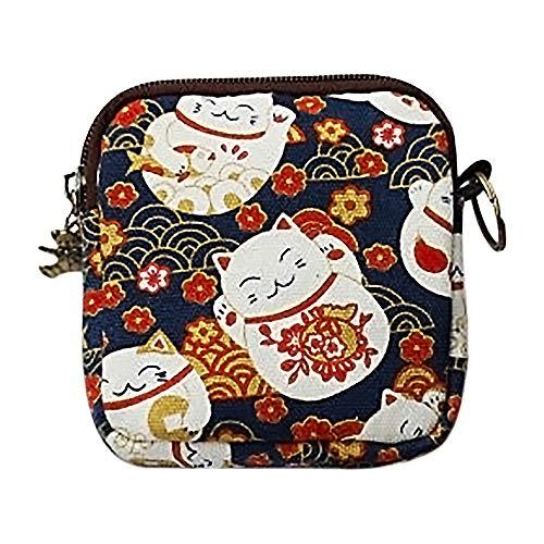Moligin - 1 cartera de gato de la suerte, pequeño monedero, bolso de mano con cremallera, para almacenamiento diario en el hogar