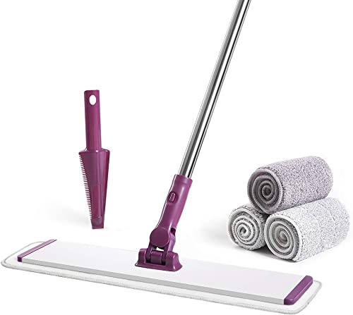 CQT Microfiber Mop Floor Cleaning System, 4 Washable Mop Pads, Perfect for Wet and Dust Mopping Hardwood, Laminate, C...