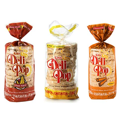 Kim's Deli Pop Rice Cakes | Original, Whole Wheat, Cinnamon | Keto, Paleo, Multigrain, Natural, Vegan | Sugar Free Korean Snack | Low Calorie, Low Fat | Variety 3 Pack |