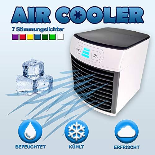 Air Luftkühler Arctic Cool Verdunstungsgerät Lufterfrischer mobiler Luftkühler mit USB Anschluß/ 3 in 1 Air Kühler / 3 Kühlstufen / 7 Stimmungslichter/Arctic
