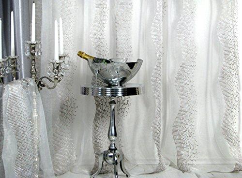 Trendoro Gardine, 1 Fertig-Gardine *Silver Wave*, Gardinenschal 140 x 245 cm, Farbe: Voile Weiss, Muster Silbertöne, hochwertiger Voile mit aufgesticktem Muster