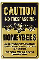 2個 ノベルティアニマルメタルティンサイン注意職場でのハチの侵入禁止ガーデンファームオーチャードガレージバーパブホームハンギングアートワーク壁の装飾アウトドアリビングガーデンストリートパブリックサイン8X12インチ メタルプレート レトロ アメリカン ブリキ 看板