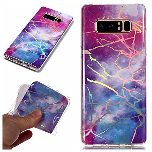 for Samsung Galaxy Note 8 Glitter Case Marble and Screen Protector,Clear Soft Silicone Phone Case Thin Slim Gel TPU Bumper Shell,QFFUN Shockproof Anti-Scratch Protective Back Cover - Red and Blue