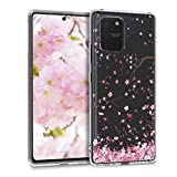 kwmobile Hülle kompatibel mit Samsung Galaxy S10 Lite - Hülle Silikon transparent Kirschblütenblätter Rosa Dunkelbraun Transparent