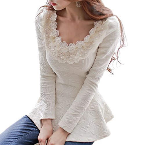 FOREVER YUNG Women's Vintage Long Sleeve Sheer Tops Lace T-Shirt Chiffon O Neck Blouse M