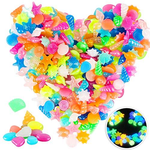 Bluelves 220Stück Bunt Leuchtsteine Kieselsteine, Leuchtende Kieselsteine Leuchtkiesel Floureszierende Pebble Steine für Aquarium Garten Kinderzimmer Schwimmbad Dekor (Mischen)