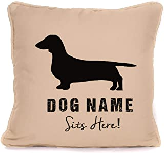 Personalised Dog Gift Pillow Case - Dachshund Sits Here - Customizable Cushion Cover - 18 x 18 Inch