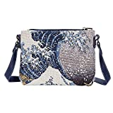 Signare Tapestry Crossbody Purse Small Shoulder Bag for Women with Collection of Hokusai Great Wave off Kanagawa Design (XB02-ART-JP-WAVE)