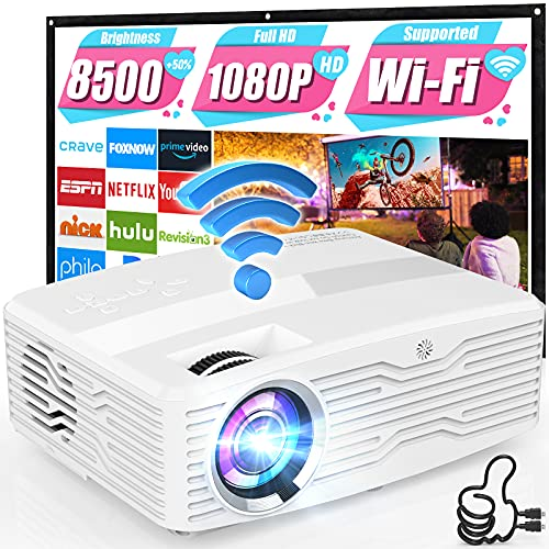 """5G WiFi 4K Projector, 8500Lumens Native 1080P Full HD Projector LCD Projector for Outdoor Movies, Wireless Mirroring/4K/Smartphone/TV Stick/HDMI/USB Supported [120"""" Projector Screen Included]"""