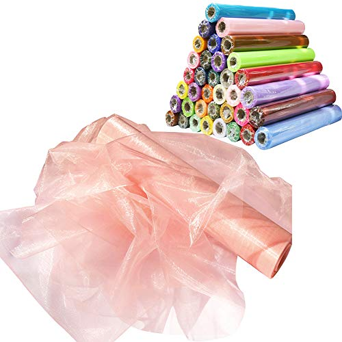 Time to Sparkle TtS 26M x 29cm Sheer Organza Roll Sash Fabric Table Runner Sashes Chair Cover Bows Swags Wedding Party - Peach Schnapps