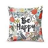 Fossrn Fundas de Cojines 45x45,Be Happy Rodeado de Flores y Plantas Funda de Almohada Personalizada Sofá (01)