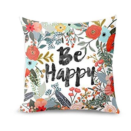 Fossrn Fundas de Cojines 45x45,Be Happy Rodeado de Flores y Plantas Funda de Almohada Personalizada Sofá