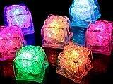 12 LED Eiswürfel für Getränke - bunt blinkende leuchtende Multicolor LED Ice-Cubes für die Bar,...