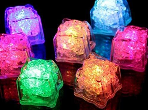 24 LED Eiswürfel für Getränke - bunt blinkende leuchtende Multicolor LED Ice-Cubes für die Bar, Hochzeit, Cocktail Dekoration oder Partys - MultiColor Würfel - Set 24 Stück