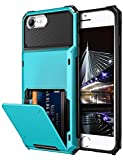 Vofolen Case for iPhone 6s 6 7 8 Case Wallet Credit Card Holder ID Slot Pocket Scratch Resistant Dual Layer Protective Bumper Rugged TPU Rubber Armor Hard Shell Cover for iPhone 6 6s 7 8 Light Blue