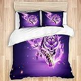 Juego de funda nórdica de 3 piezas, tigre vicioso con llama ardiente púrpura en ilustración 3D, juegos de fundas de edredón de microfibra de lujo para dormitorio, colcha con cremallera con 2 fundas de