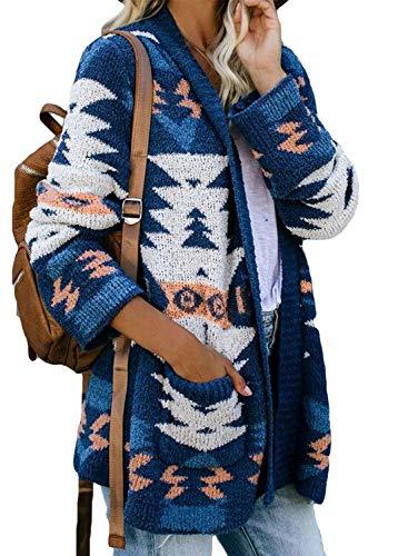 Asvivid - Chaqueta de punto para mujer, diseño geométrico con estampado de manga larga, con frente abierto