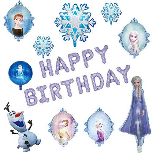 YUESEN Globo Frozen 23PCS Decoración de Fiesta de cumpleaños Globo de Papel Azul con Copo de Nieve Decoraciones Colgantes Fiesta Deco Globos de látex Fiesta Boda Cumpleaños
