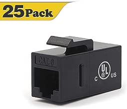 VCE CAT6 RJ45 Keystone Jack Inline Coupler-Black 25-Pack UL Listed