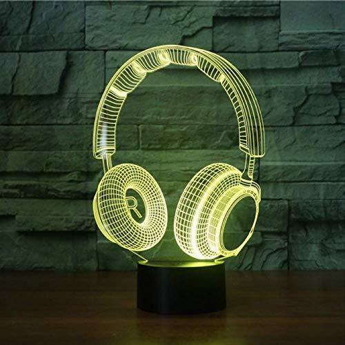 Luz de nocheLámpara3DAuricularEstudio de grabación deDJMúsica AuricularLámpara de luz nocturna3DLámpara de mesa colorida Lámpara de dormitorio con control remoto