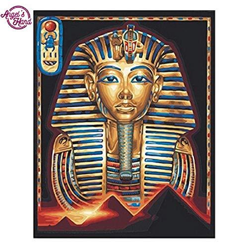 DIOPN Egyptische Farao Masker DIY Diamant Borduurwerk Naaldwerk 3D Diamant Schilderen Cross Stitch Volledige Boor Strass Schilderij (Rond Diamant 40 * 50cm)