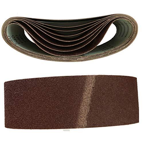 Lot de 10 bandes abrasives en tissu pour ponceuse à bande 75 x 457 mm Grain 120 pour ponceuse à bande