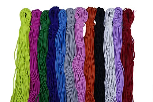 XiXiboutique 1/8-Inch (3mm) 30 Yards Heavy Stretch Round String Elastic Cord Mix Color