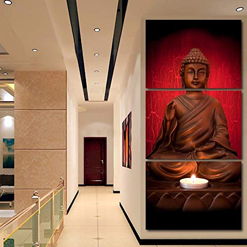 HD Printed Buddhism Posters 3 Pieces Modular Pictures Zen Buddha Wall Art Landscape Canvas Paintings No Frame Size 3