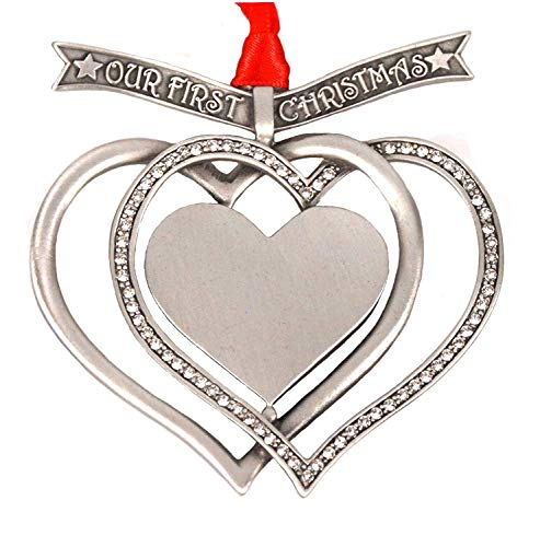 Liberty Pewter Our First Christmas Engravable Interlocking Hearts Ornament with Austrian Crystals 3.25' 3.25' Made in USA