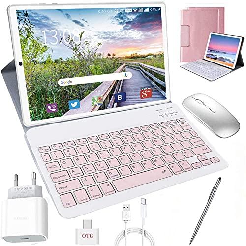 Tablet 10 Zoll Android 10.0, 64GB rom/4GB ram Quad Core 4G Tablet mit Deutsche Tastaturaufkleber Stift Tastatur, Type C, 5MP+8MP Kamera, 8000mAh Akku WiFi 4G Dual-SIM/SD Bluetooth Tablet PC (Rosa)