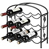 Black Wine Rack Countertop, Modern Grapevine Design Freestanding Metal 12 Wine Bottle Organizer Storage