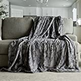 """Softest Warm Elegant Cozy Faux Fur Home Throw Blanket by Graced Soft Luxuries (Solid Gray, Extra Large 60"""" x 80"""")"""