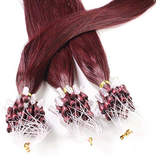 Hair2Heart 150 x 0.5g Extensiones de micro ring pelo natural - 60cm, colore #99j caoba, liso