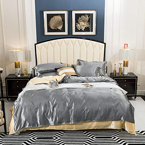geek cook Four-piece bed, Washed-Silk Four-Piece Suit 1 Duvet Cover 1 Flat Bed Sheet 2 Pillowcase King Single Queen King 3 Sizes-Color21_Single 150x200cm