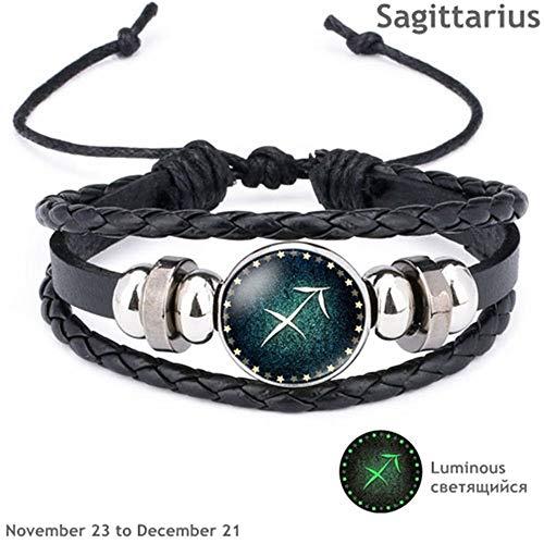 KKVK12 Constellation Luminous Bracelet Men Lederarmband Charm Armbänder für Schmuck Accessoires Geschenke H One Size