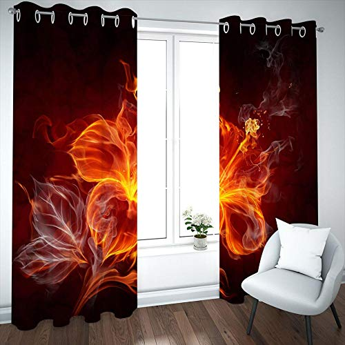 HUILIYI 3D Blackout Curtains Flame flowers Eyelet Ring Window Curtain Thermal Insulated Opaque Reduce Noise Baby Room Decoration CurtainW46 x H72(234x183cm)