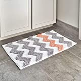 iDesign Chevron Microfiber Polyester Bath Mat, Non-Slip Shower Accent Rug for Master, Guest, and Kids' Bathroom, Entryway, 34' x 21', Light Gray and Coral