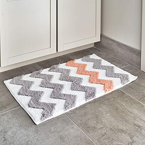 """iDesign Chevron Microfiber Polyester Bath Mat, Non-Slip Shower Accent Rug for Master, Guest, and Kids' Bathroom, Entryway, 34"""" x 21"""", Light Gray and Coral"""