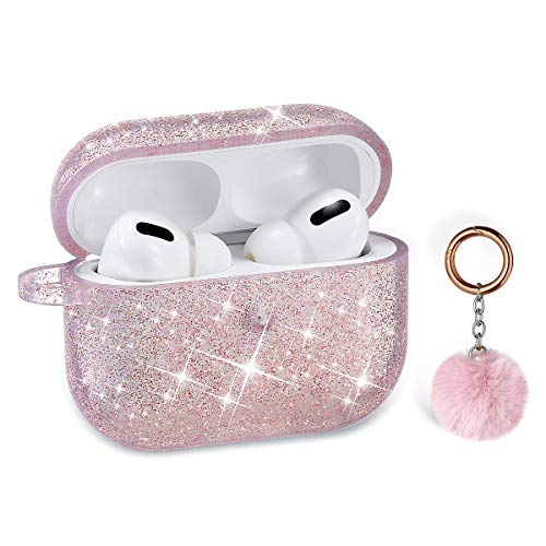 Airpods Pro Case, DMMG Airpods Pro Case Cover Silicone Skin for Girls Womens,AirPods Protective Cute Bling Glitter Case with Fluff Ball Keychain, Scratch Proof for Apple Airpods Pro (Pink)